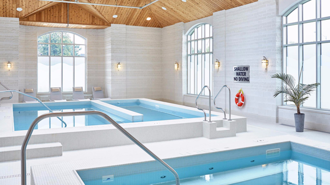 Indoor pool and spa at the Bruce Hotel in Stratford, Ontario