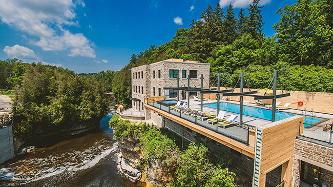 Elevated pool over the Elora gorge at the Elora Mill Hotel & Spa in Elora, Ontario